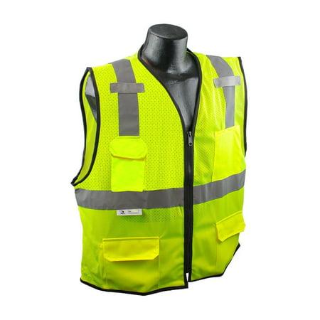 SV7E-2ZGM-L/XL Class 2 Surveyor Safety Vest, Hi-Viz Green, Large/X-Large, Materials: 100% polyester mesh front, 100% polyester mesh back By Radians (100 Dollar Bill Front And Back)
