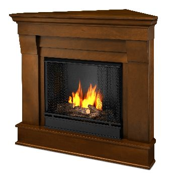 Chateau Corner Gel Fuel Espresso Fireplace