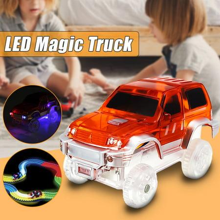 Children Mini Electric LED Car for Magic Tracks Shining Race Vehicle Toys Kids Birthday Christmas Gifts (Bike Race Halloween Track 7)