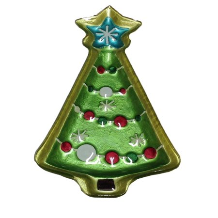 Demdaco - Glass Fusion - Shaped Plate - Christmas Tree