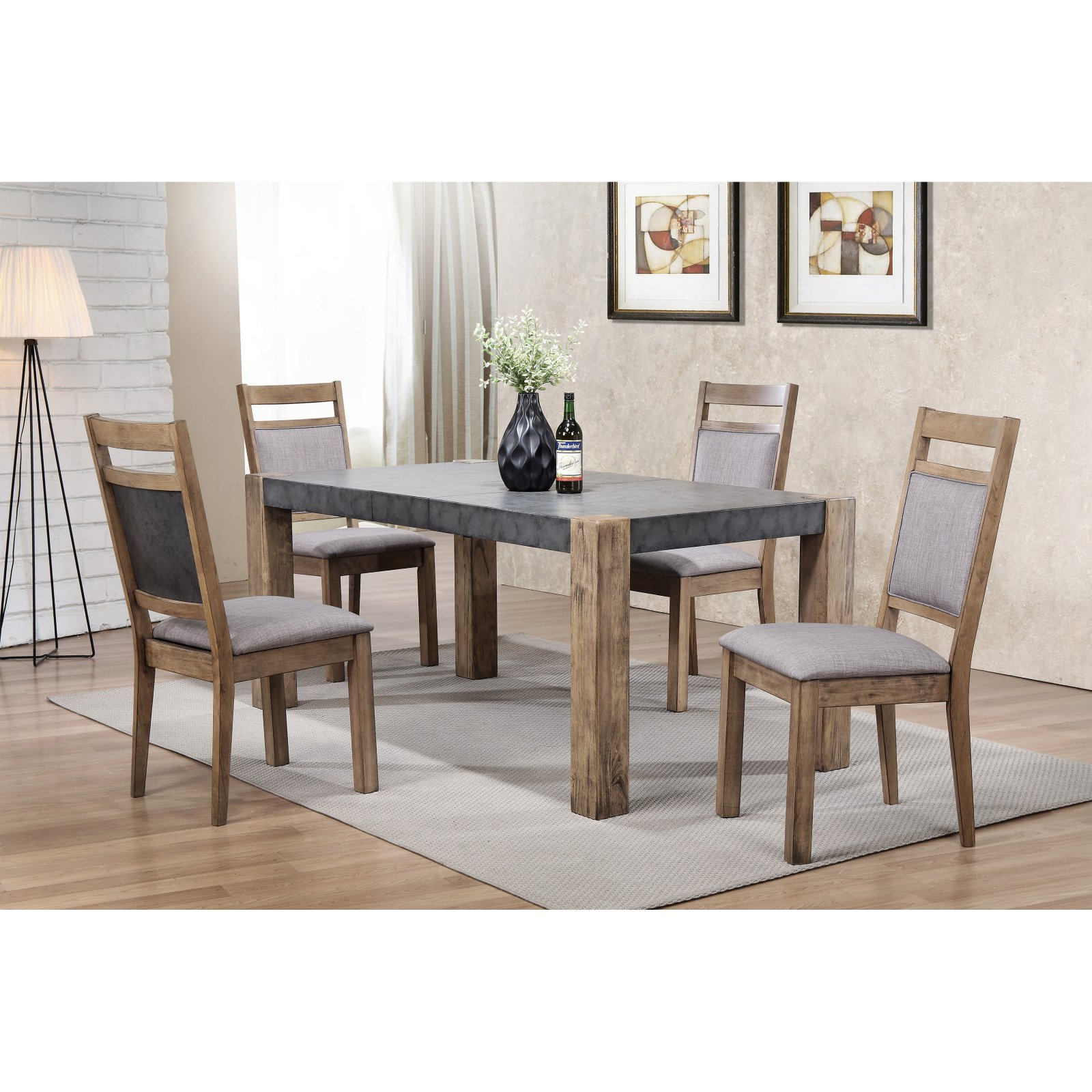 Roundhill Furniture Costabella 5 Piece Two Tone Butterfly Leaf Dining Table  Set With Optional Server