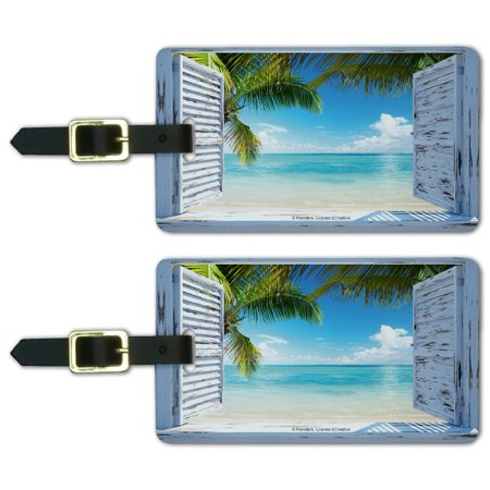 Vacation Tag - Tropical Beach Vacation Ocean View Luggage ID Tags Suitcase Carry-On Cards - Set of 2