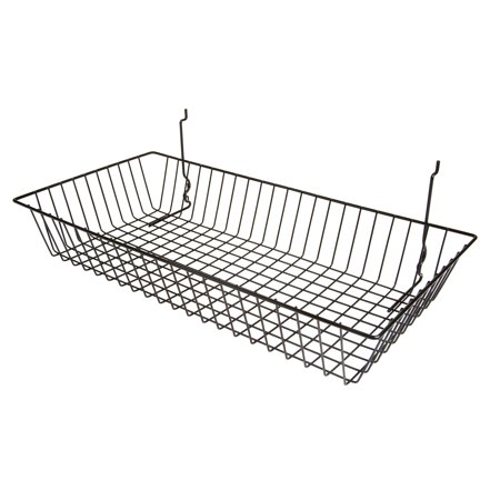 "- Black Wire Basket for Pegboard, Slatwall or Gridwall (Set of 6), Merchandiser Baskets, Perfect For Commercial or Retailer, Black Vinyl Coated Wire Basket, 24"" L x 12"" D x 4"" H, Shallow Baskets"