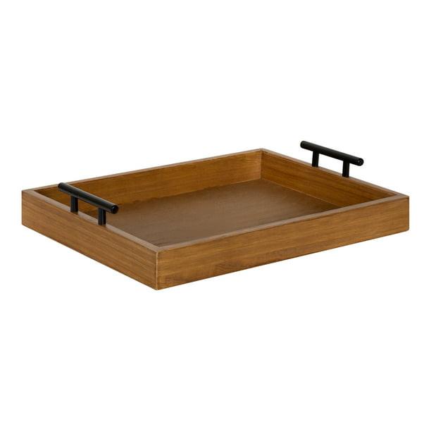Kate And Laurel Lipton Decorative Wooden Tray With Metal Black Handles Rustic Natural Brown Walmart Com Walmart Com