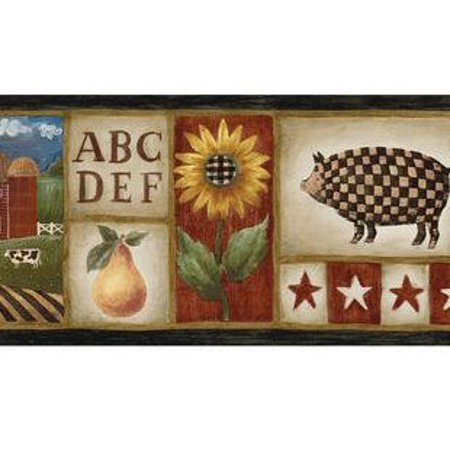 879721 Americana Country Stars, Sunflowers, Pigs Wallpaper Border MN5009