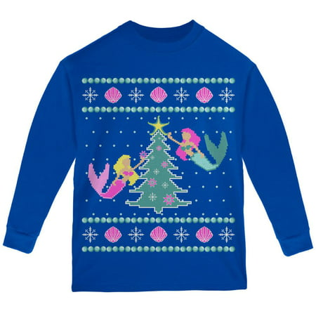 Mermaid Tree Ugly Christmas Sweater Youth Long Sleeve T Shirt](Ugly Christmas Sweater Tree)