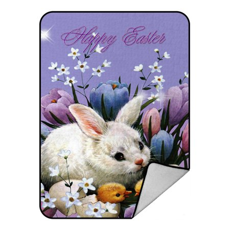 - GCKG Happy Easter New Style Fleece Blanket Crystal Velvet Front and Lambswool Sherpa Fleece Back Throw Blanket 58x80inches