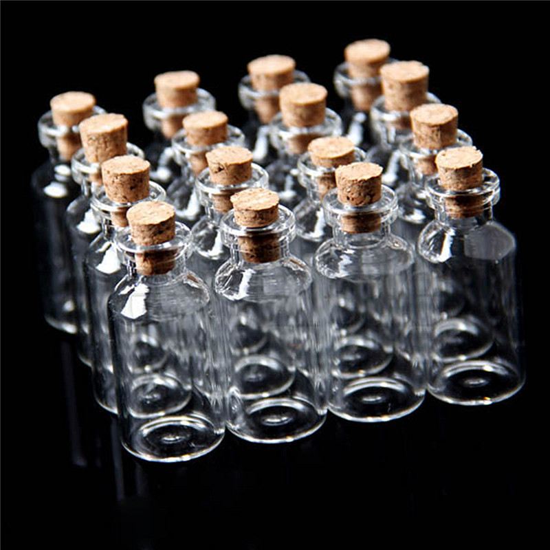 10 pcs Small Tiny Transparent Clear Glass Wish Bottle Crafts Clear 0.5 1 2 5ML by