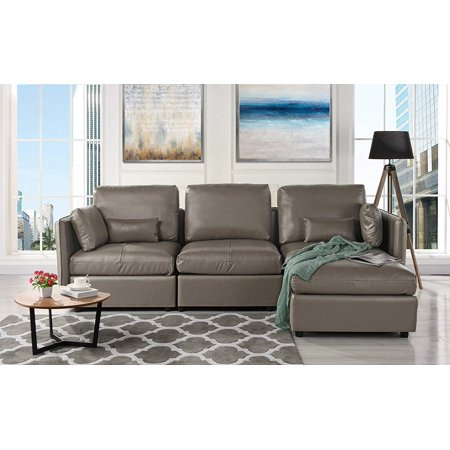 L-Shape Living Room Leather Match Sectional Sofa, Right Facing Chaise Lounge (Grey) ()