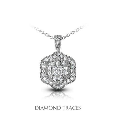 Diamond Traces UD-OS3004-8508 1.31 Carat Total Natural Diamonds 14K White Gold Pave Setting Flower Shape with Milgrain Fashion Pendant - image 1 of 1