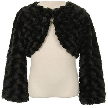 Big Girls' Fluffy Faux Fur Swirl Bolero Jacket Winter Knit Sweater Black 10 (S03K)](Fluffy Girls)