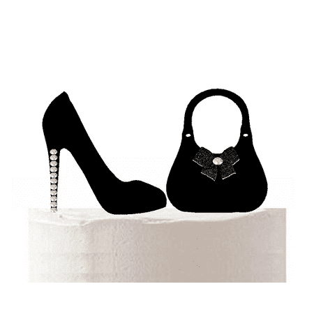 Black Rhinestone Shoe and Bag Cake Decoration cake Topper - Bag Toppers