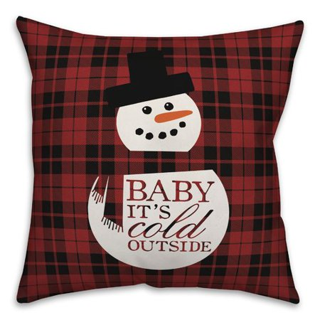The Holiday Aisle Waldo Baby It's Cold Outside Snowman Throw Pillow