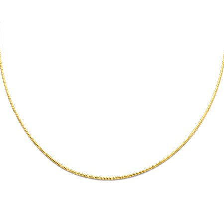 FB Jewels 14K Yellow Gold 1mm Sparkle Omega Chain Necklace 17 Inches ()