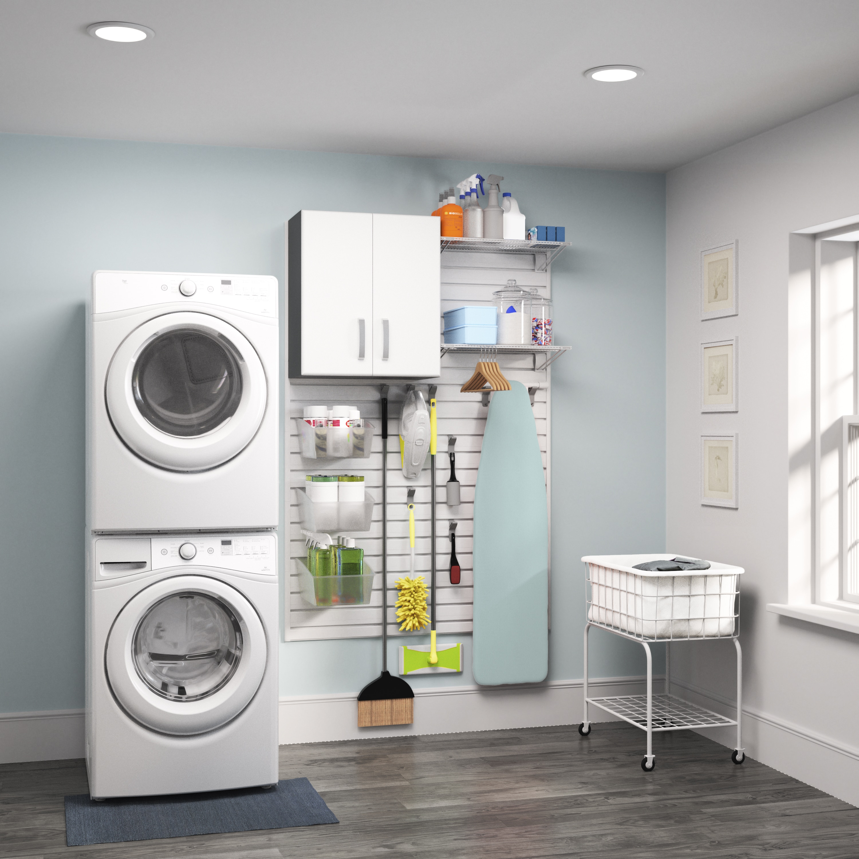 Flow Wall Systems Flow Wall White 1 Piece Laundry Cabinet Set