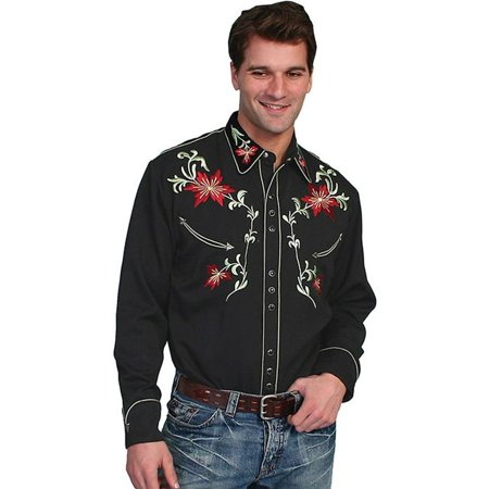 Scully Western Shirt Men L/S Snap Embroidered Floral Tooled P-633