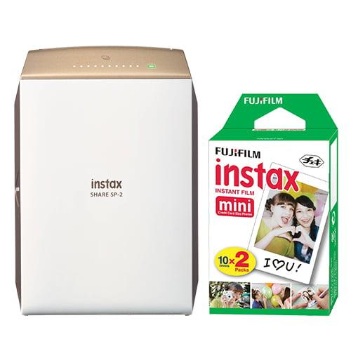 FujiFilm Instax SHARE Smartphone Fuji Instax Printer SP-2 Gold + 20 Instant Film by Fujifilm