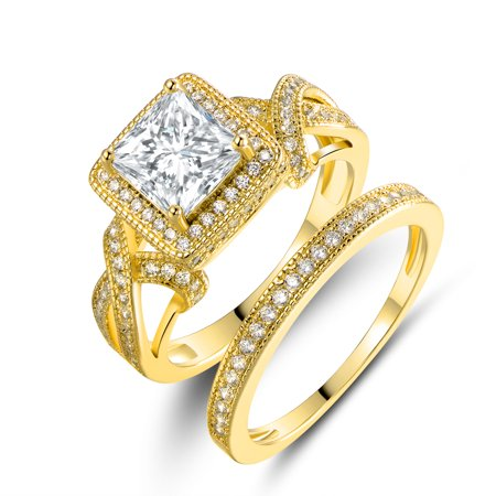 18K Gold Plated & Princess-Cut Cubic Zirconia Engagement Ring (Gold Cz Rings)