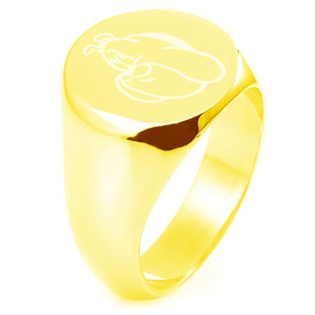 Gold Plated Sterling Silver Looney Tunes Hector The Bulldog Engraved Round Flat Top Polished Ring