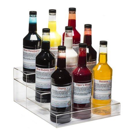 Acrylic Wine Bottle Holder / Rack, Holds 9 Bottles, 3 Tiers