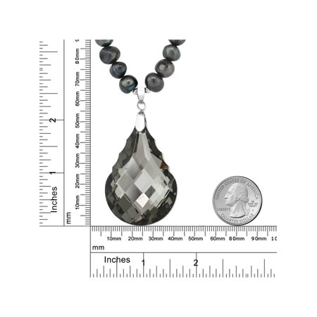 """Black Dyed Cultured Freshwater Pearl Faceted Pendant Necklace 16"""" w/ 2"""" Extender - image 2 of 4"""