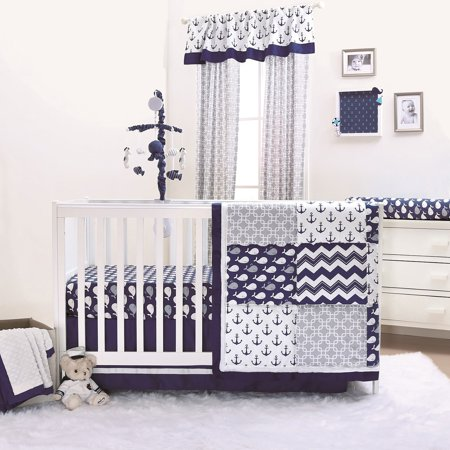 Navy Whale Blue Nautical Baby Crib Bedding 20 Piece Nursery Essentials Set