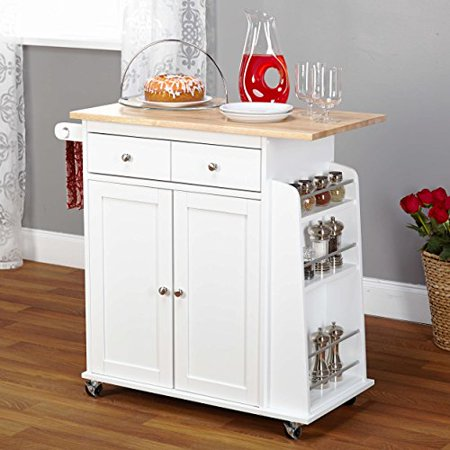 Contemporary Style Mobile Kitchen Island Rolling Cart Wooden Frame with Single Storage Drawer and 2-Cabinets | Adjustable Cabinet Shelf, Towel Rack, White Finish - Includes Modhaus Living Pen