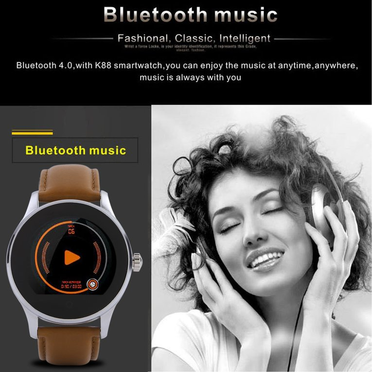 Water Resistant Smartwatch Round b luetooth Watch With Heart Rate Monitor