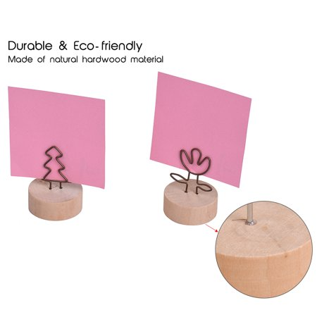 Real Wooden Base Place Card Holders Paper Note Clip Table Craft Decoration Ideal for Party Wedding Home Bar Multi-style Large Thread Shape Set of 10 - image 3 of 7