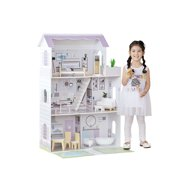 "Teamson Kids – Grand 12"" Dollhouse with Front Balcony & Garden, 15 Matching Accessories (Lavender/ Purple)"
