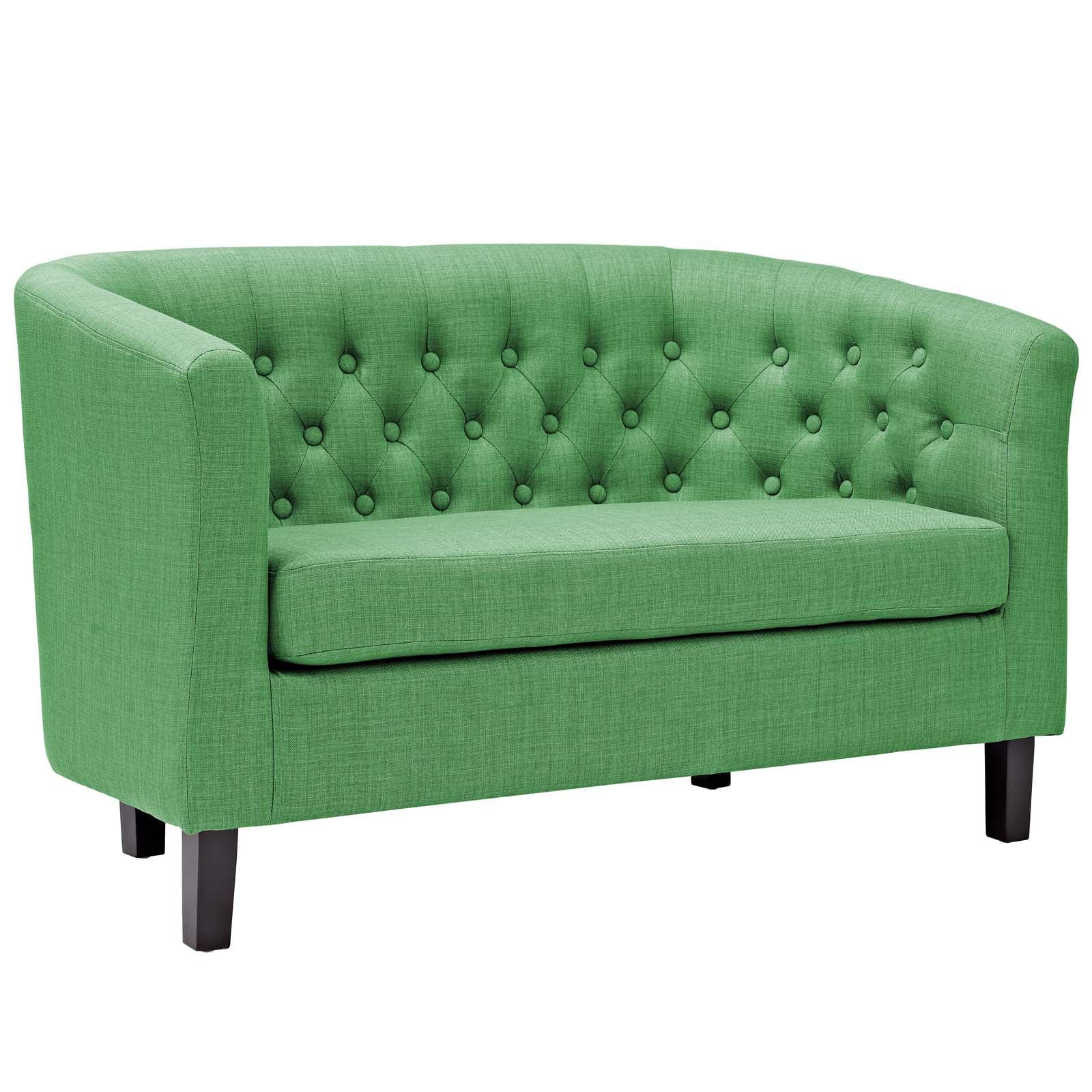 Modern Contemporary Urban Design Living Lounge Room Loveseat Sofa, Green, Fabric
