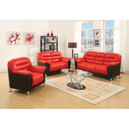 Acme sibba sofa red black pu for Black n red living room