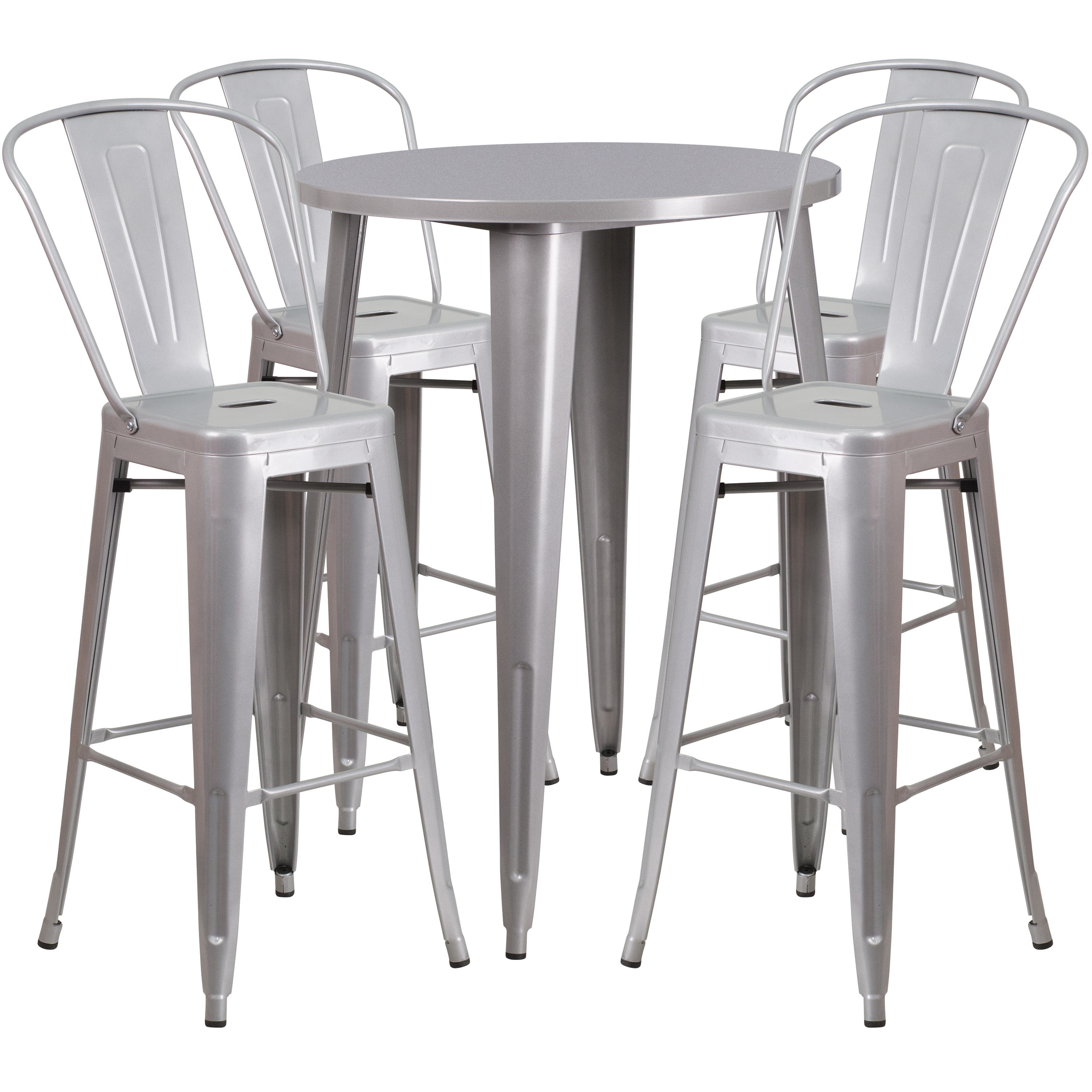 Flash Furniture 30'' Round Metal Indoor-Outdoor Bar Table Set with 4 Cafe Barstools, Multiple Colors