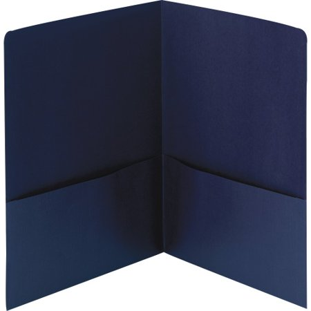 - Smead Linen Two-Pocket Folders - Letter - 2 Pocket(s) - Linen - Dark Blue - Recycled - 25 / Box SMD87946