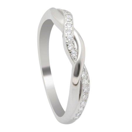 Silver Wedding Anniversary Ideas (Queena Twisted CZ Sterling Silver Anniversary Wedding Band)