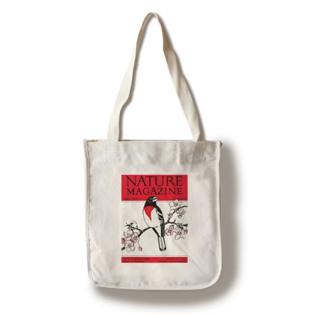 Nature Magazine - View of a Red-Breasted Robin on a Blossoming Branch (100% Cotton Tote Bag - Reusable)