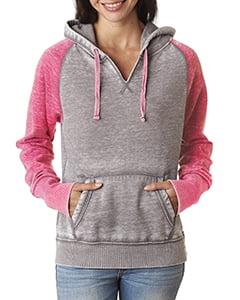 J.America Ladies Zen Contrast Pullover Hooded Fleece