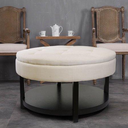 Sacnite Cream 35-inch Round Tufted Upholstery Padded Shelved