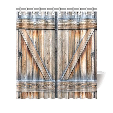 MYPOP Vintage Rustic Country Barn Wood Door Shower Curtain Old Wooden Garage American Style