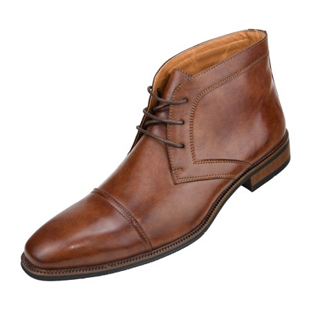 (Amali Mens Smooth Cap Toe Oxford Lace-Up Dress Shoes and Ankle Boots Available in Black, Rust, Cognac, and Brown)