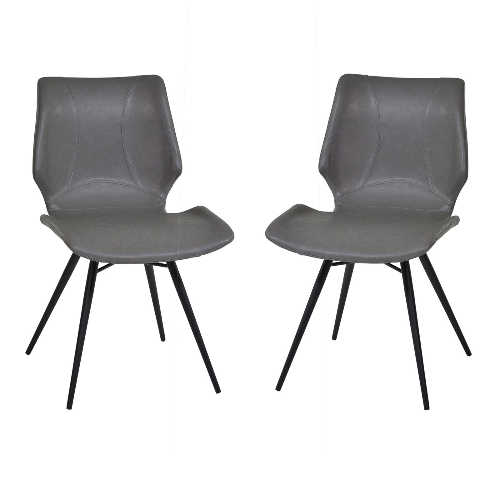 Armen Living Zurich Dining Chair in Vintage Pu and Black Metal Finish (Set of 2) by Armen Living
