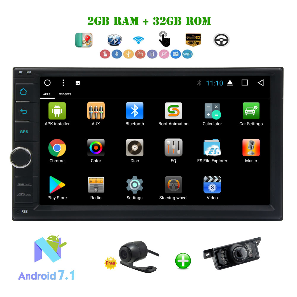 """Car Radio 2 Din Android 7.1 Car Stereo Octa-core 2GB+32GB 7"" Touch Screen Multimedia Player In Dash Head Unit with Capacitive Full HD Support 3G/4G WIFI FM/AM RDS Radio DAB+ OBD2 USB SD + Fr"""