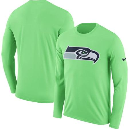 Nike Baseball Fan Gear - Seattle Seahawks Nike Fan Gear Primary Logo Long Sleeve Performance T-Shirt - Neon Green