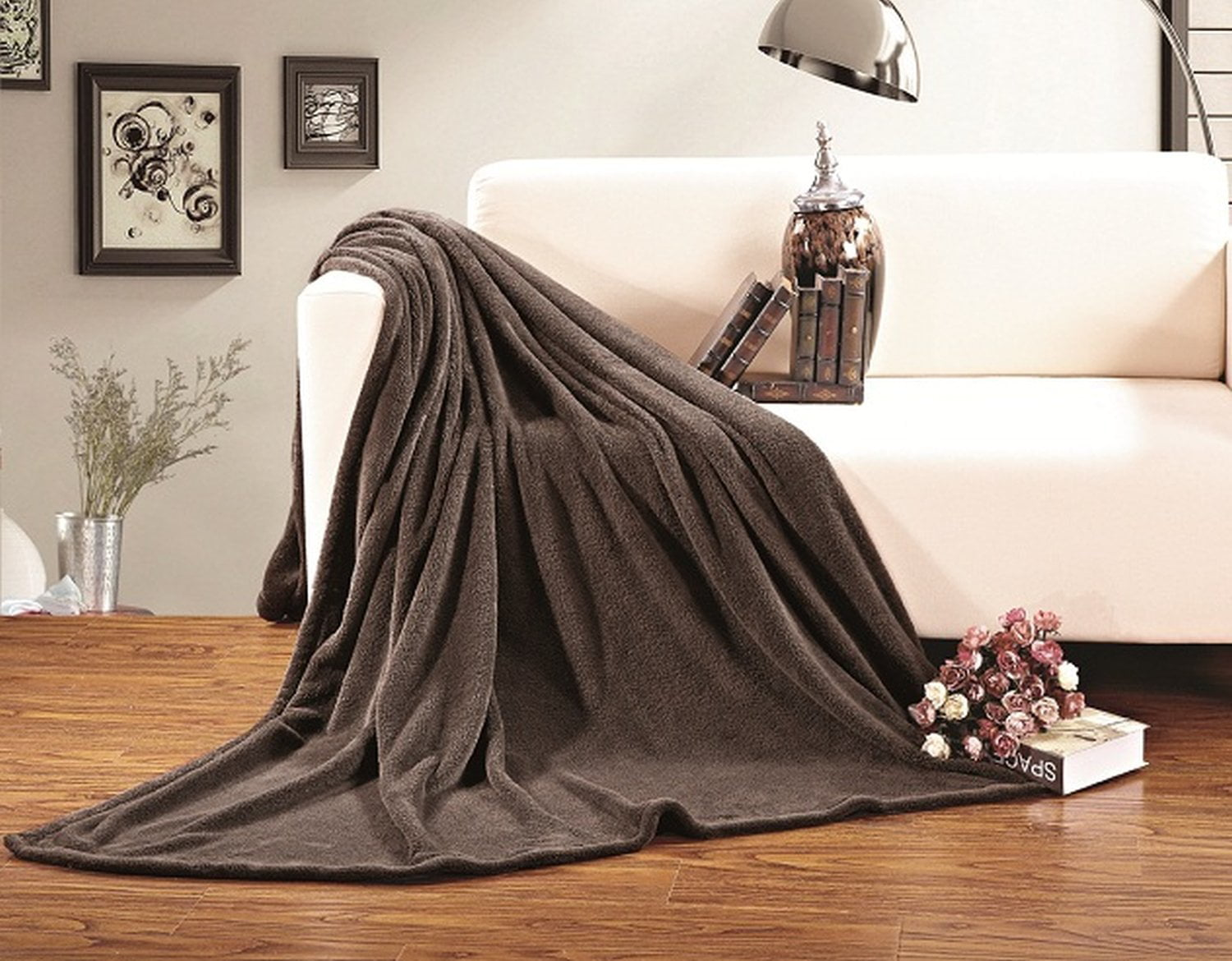 All Season FLEECE BLANKET All Sizes Twin Twin XL Chocolate Brown by