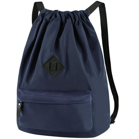 Vbiger Men Women Drawstring Backpack Chic School Shoulders Bag Classic Travel Drawstring Bag Trendy Drawstring Sackpack Casual Outdoor Daypack, Dark Blue