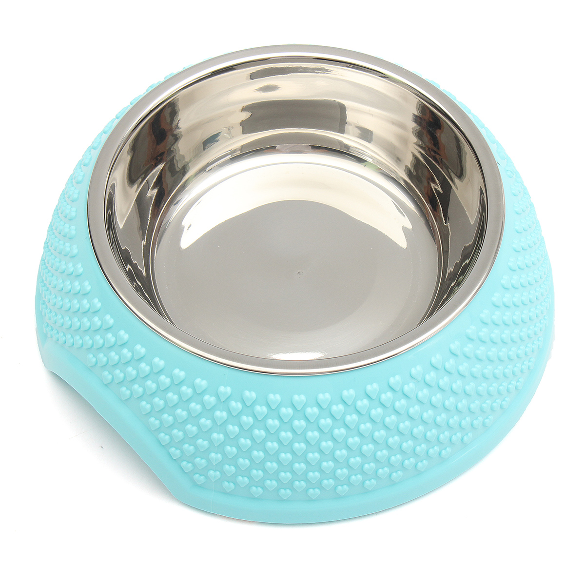 Portable Removable Stainless Steel Round Cat Dog Puppy Pet Water Drink Food Dish Bowl Feeder Feeding Fountain Anti-Skid