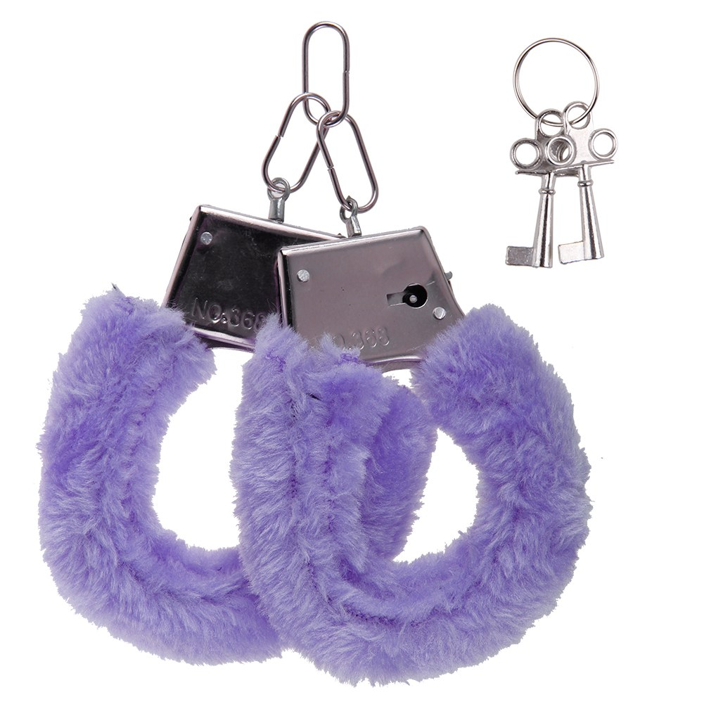Veil Entertainment Sexy Soft & Furry Adult Metal Handcuffs, Purple, 10in