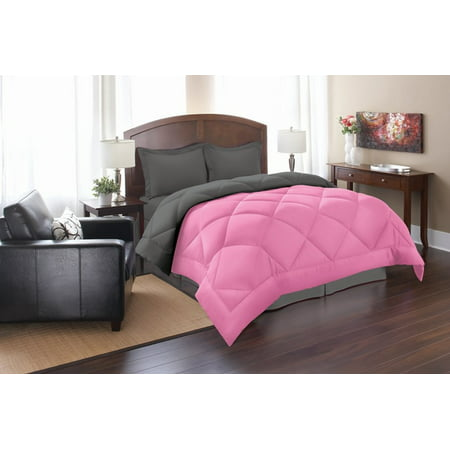 Elegant Comfort Goose Down Alternative Reversible 3pc Comforter Set- Available In A Few Sizes And Colors , King/Cal King, Pink/Gray (Elegant Comfort Goose)