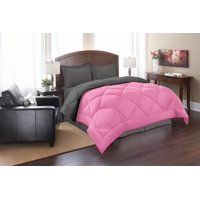 Celine Linen  Goose Down Alternative Reversible 3pc Comforter Set-, King/Cal King, Pink/Gray