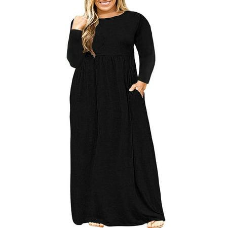 Women Solid Long Sleeve Dresses Plus-Size